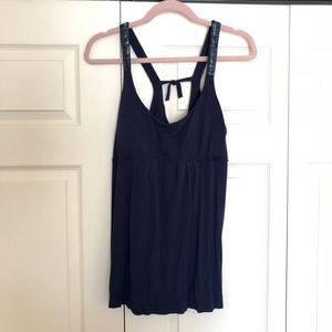 Tops - Navy Beaded Racerback Tank